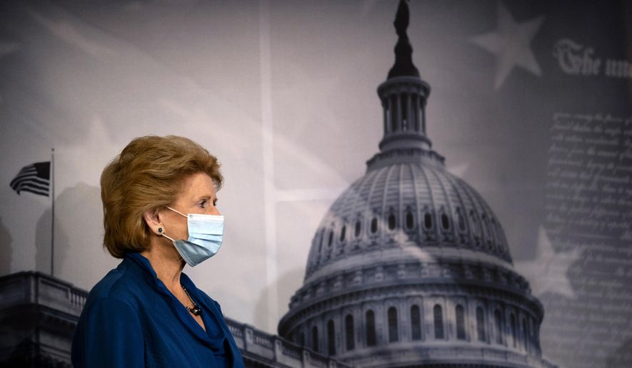 Sen. Debbie Stabenow, D-Wis., participates in a news conference on Capitol Hill in Washington, Tuesday, July 21, 2020. (AP Photo/Carolyn Kaster)