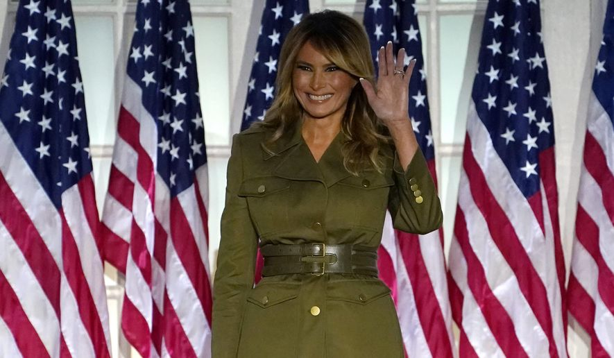 First lady Melania Trump arrives to speak on the second night of the Republican National Convention from the Rose Garden of the White House, Tuesday, Aug. 25, 2020, in Washington. (AP Photo/Evan Vucci)