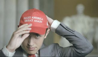 Nicholas Sandmann wears a 'Make America Great Again' hat as speaks from Washington, during the second night of the Republican National Convention on Tuesday, Aug. 25, 2020. (Courtesy of the Committee on Arrangements for the 2020 Republican National Committee via AP)