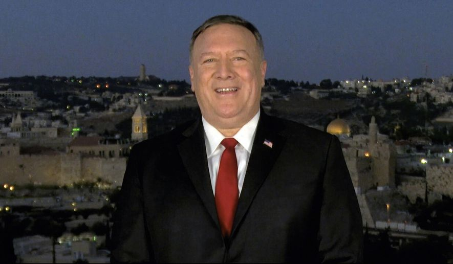 In this image from video, Secretary of State Mike Pompeo speaks from Jerusalem during the second night of the Republican National Convention on Tuesday, Aug. 25, 2020. (Courtesy of the Committee on Arrangements for the 2020 Republican National Committee via AP)