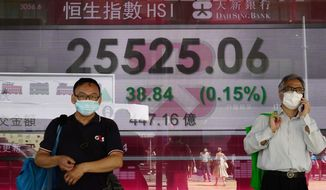 A man walks past a bank electronic board showing the Hong Kong share index outside a Hong Kong local bank Wednesday 26, 2020. Asian shares were mostly lower Wednesday after a lackluster session on Wall Street following talks between the United States and China on the status of a deal meant to work as truce in their trade war. (AP Photo/Vincent Yu)