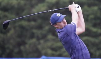 Jordan Spieth drives on the 11th hole during the first round of the Wyndham Championship golf tournament at Sedgefield Country Club on Thursday, Aug. 13, 2020, in Greensboro, N.C. (AP Photo/Chris Carlson)