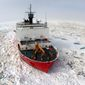 BARROW, Alaska — The U.S. Coast Guard Cutter Healy, a 420 ft. icebreaker homeported in Seattle, Wash., breaks ice in support of scientific research in the Arctic Ocean. [Photo credit: U.S. Coast Guard photo by Petty Officer Second Class Prentice Danner.]