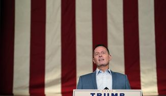 Former acting Director of National Intelligence Richard Grenell tapes his speech for the third day of the Republican National Convention from the Andrew W. Mellon Auditorium in Washington, Wednesday, Aug. 26, 2020. (AP Photo/Susan Walsh)