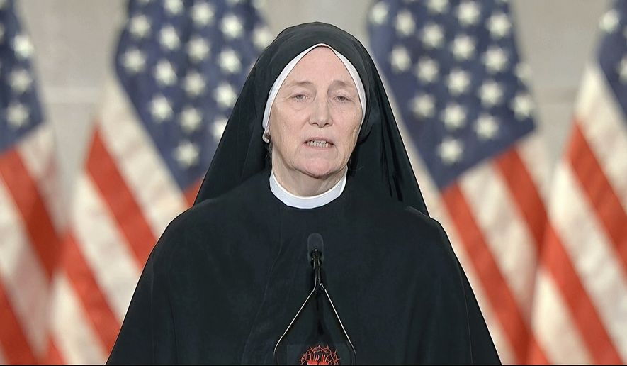 In this image from video, Sister Deirdre Byrne speaks from Washington, during the third night of the Republican National Convention on Wednesday, Aug. 26, 2020. (Courtesy of the Committee on Arrangements for the 2020 Republican National Committee via AP)