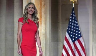 Lara Trump walks on stage to tape her speech for the third day of the Republican National Convention from the Andrew W. Mellon Auditorium in Washington, Wednesday, Aug. 26, 2020. (AP Photo/Susan Walsh) **FILE**