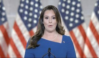 In this image from video, Rep. Elise Stefanik, R-N.Y., speaks from Washington, during the third night of the Republican National Convention on Wednesday, Aug. 26, 2020. (Courtesy of the Committee on Arrangements for the 2020 Republican National Committee via AP)