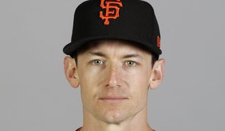 This is a 2020 file photo showing Rob Brantly of the San Francisco Giants baseball team. The New York Yankees have acquired catcher Rob Brantly from the San Francisco Giants. The Yankees paid only $1 for Brantly in the deal announced on Wednesday, Aug. 26, 2020. (AP Photo/Darron Cummings, File)