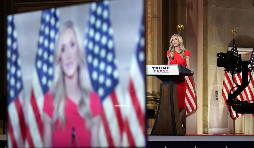 Lara Trump tapes her speech for the third day of the Republican National Convention from the Andrew W. Mellon Auditorium in Washington, Wednesday, Aug. 26, 2020. (AP Photo/Susan Walsh)