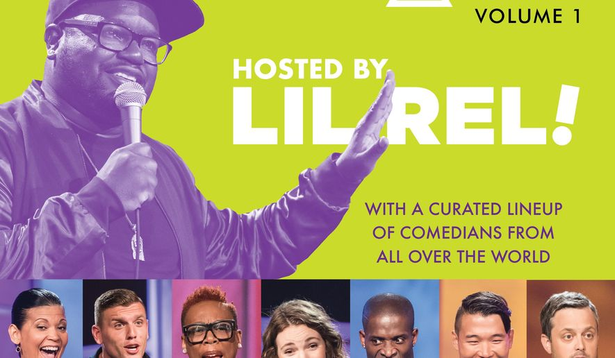"""This cover image released by Simon & Schuster Audio shows cover art for """"Laugh Out Loud Presents Comedy in Color, Volume 1, Hosted by Lil Rel."""" The comedy audiobook, which goes on sale on Sept. 29, features comedy by Aida Rodriguez, Chris Distefano, Gina Yashere, Godfrey, Joel Kim Booster, Nate Bargatze and others. (Simon & Schuster Audio via AP)"""