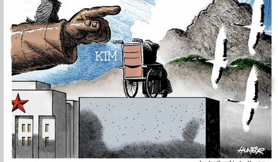 Son-down in Pyongyang (Illustration by Alexander Hunter for The Washington Times)