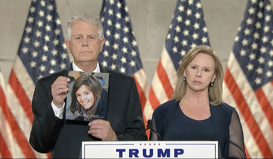In this image from video, Carl and Marsha Mueller, parents of aid worker Kayla Mueller who was killed by the Islamic State, speaks from Washington, during the fourth night of the Republican National Convention on Thursday, Aug. 27, 2020. (Courtesy of the Committee on Arrangements for the 2020 Republican National Committee via AP)