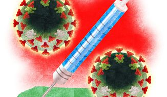 Illustration on a Covid19 vaccine by Alexander Hunter/The Washington Times