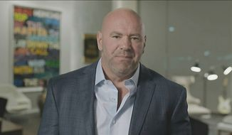 In this image from video, Ultimate Fighting Championship president Dana White speaks during the fourth night of the Republican National Convention on Thursday, Aug. 27, 2020. (Courtesy of the Committee on Arrangements for the 2020 Republican National Committee via AP)