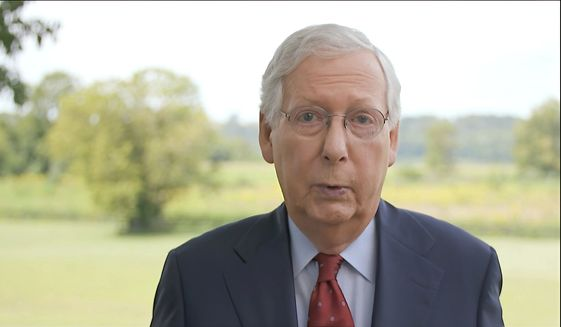 In this image from video, Senate Majority Leader Mitch McConnell of Ky., speaks during the fourth night of the Republican National Convention on Thursday, Aug. 27, 2020. (Courtesy of the Committee on Arrangements for the 2020 Republican National Committee via AP) **FILE**