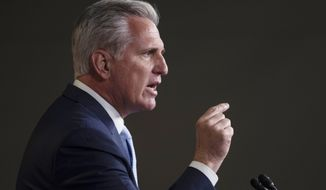 In this June 25, 2020, file photo House Minority Leader Kevin McCarthy of Calif., speaks during a news conference on Capitol Hill in Washington. (AP Photo/Carolyn Kaster, File)