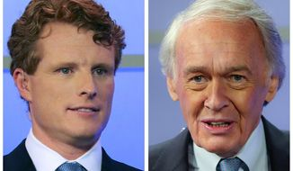 In this pair of June 1, 2020, file photos, Rep. Joe Kennedy III, left, and Sen. Edward Markey, D-Mass., right, wait for the start of a debate in Springfield, Mass. Kennedy is a candidate and Markey is the incumbent in the Sept. 1 Democratic primary election for Senate. (Matthew J. Lee/The Boston Globe via AP, Pool, File)