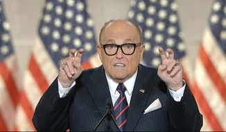 In this image from video, former New York City Mayor Rudy Giuliani, personal attorney to President Donald Trump speaks from New York, during the fourth night of the Republican National Convention on Thursday, Aug. 27, 2020. (Courtesy of the Committee on Arrangements for the 2020 Republican National Committee via AP)