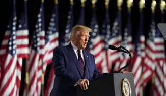 President Donald Trump speaks from the South Lawn of the White House on the fourth day of the Republican National Convention, Thursday, Aug. 27, 2020, in Washington. (AP Photo/Alex Brandon)