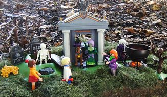 Combine Playmobil's Adventure in the Cemetery and Adventure in the Witch's Cauldron playsets for some spooky Scooby-Doo shenanigans featuring the villains Ghost Girl and Zeb Perkins. (Photograph by Joseph Szadkowski / The Washington Times)
