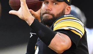 Pittsburgh Steelers quarterback Ben Roethlisberger drops back to pass during the NFL football team's practice Saturday, Aug. 22, 2020, in Pittsburgh. (Peter Diana/Pittsburgh Post-Gazette via AP)