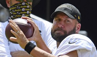 Pittsburgh Steelers quarterback Ben Roethlisberger drops back to pass during an afternoon NFL football practice, Friday, Aug. 21, 2020, at Heinz Field in Pittsburgh. (Peter Diana/Pittsburgh Post-Gazette via AP)