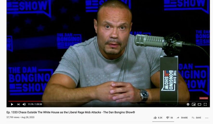 Former Secret Service agent Dan Bongino discusses Black Lives Matter activists who shouted expletives and him as he exited the Republican National Convention with his wife on August 27, 2020. (Image: YouTube, Dan Bongino, Episode 1,333 video screenshot)