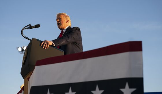 President Donald Trump speaks during a campaign rally, Friday, Aug. 28, 2020, in Londonderry, N.H. (AP Photo/Evan Vucci)
