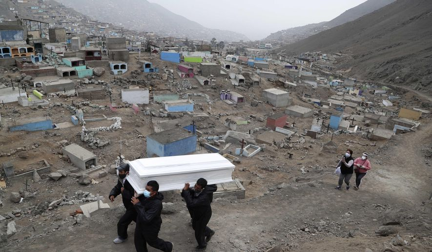 Cemetery workers carry the coffin that contains the remains of Wilson Gil, who family members say died of COVID-19 related complications, to a burial site at the Martires 19 de Julio cemetery on the outskirts of Lima, Peru, Wednesday, Aug. 26, 2020. The South American country has the highest number of new coronavirus infections in Latin America after Brazil. (AP Photo/Martin Mejia)