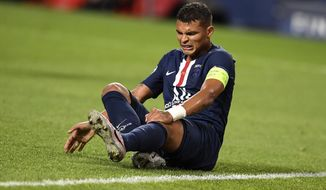 PSG's Thiago Silva reacts on the ground during the Champions League final soccer match between Paris Saint-Germain and Bayern Munich at the Luz stadium in Lisbon, Portugal, Sunday, Aug. 23, 2020. (David Ramos/Pool via AP)