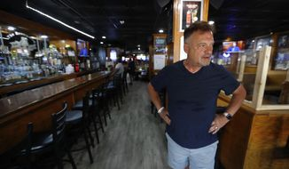 This photo shows Perry Porikos, owner of the The Brown Jug restaurant, in Ann Arbor, Mich. The Greek immigrant arrived here more than four decades ago as a 20-year-old soccer player for the Wolverines and part-time dishwasher at restaurant, which he now owns. (AP Photo/Paul Sancya)