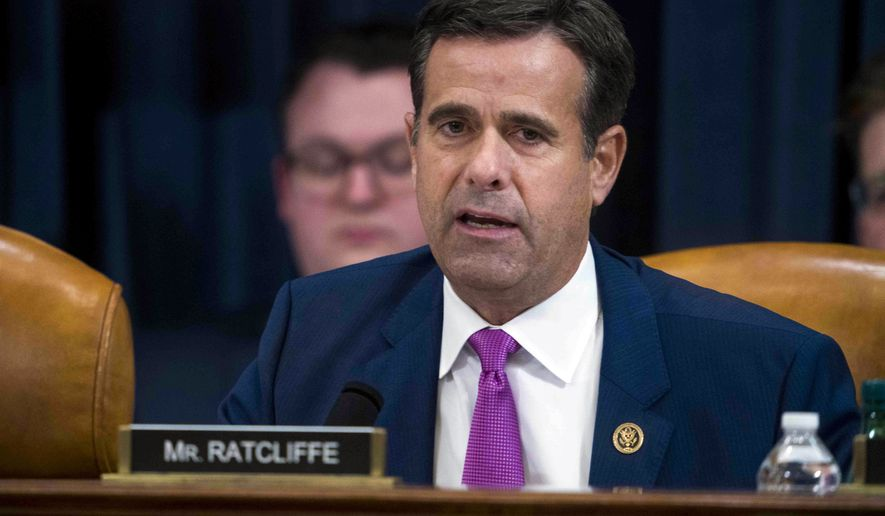 In this Dec. 9, 2019, file photo, Rep. John Ratcliffe, R-Texas, during the House impeachment inquiry hearings in Washington. (Doug Mills/The New York Times via AP, Pool)  **FILE**
