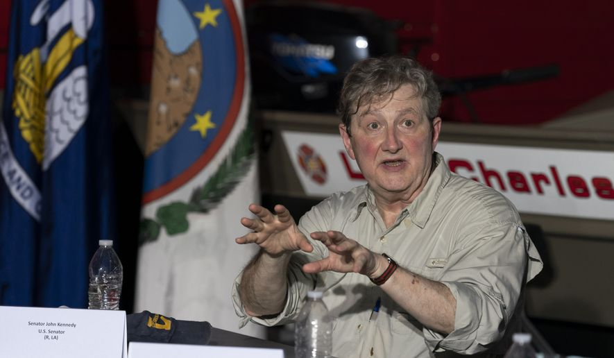 Sen. John Kennedy, R-La., speaks as President Donald Trump attends a roundtable with state and local leaders as he surveys damage from Hurricane Laura, Saturday, Aug. 29, 2020, in Lake Charles, La. (AP Photo/Alex Brandon) ** FILE **