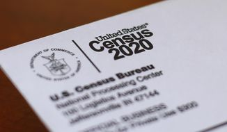 This Sunday, April 5, 2020, file photo shows an envelope containing a 2020 census letter mailed to a U.S. resident in Detroit. (AP Photo/Paul Sancya, File)