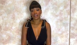 In this video grab issued Sunday, Aug. 30, 2020, by MTV, host Keke Palmer talks about late actor Chadwick Boseman during the MTV Video Music Awards. (MTV via AP)