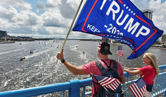 Hundreds of boats gathered for a recent boat rally to support President Trump on the St. Johns River in Jacksonville, Florida. (Associated Press)