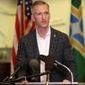 Portland Mayor Ted Wheeler took accountability for unrest in his city but also blamed President Trump. (Associated Press)