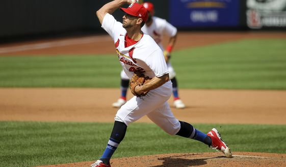 St. Louis Cardinals starting pitcher Adam Wainwright (50) delivers during the fifth inning of a baseball game against the Cleveland Indians Sunday, Aug. 30, 2020, in St. Louis. (AP Photo/Scott Kane)