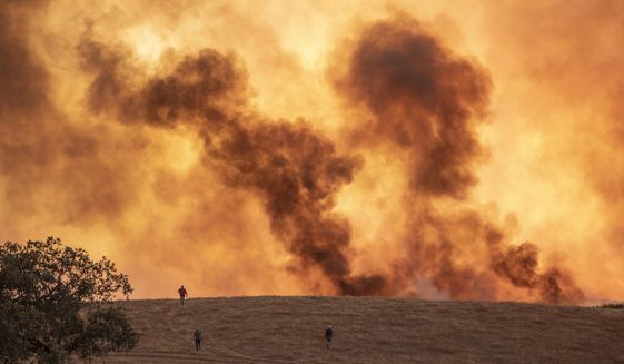 Wildfires advance in Almonaster la Real in Huelva, Spain, Thursday Aug. 27, 2020. Hundreds of people were evacuated and thousands of hectares have already burned in a wildfire that began on Thursday in the southern region of Andalusia, in Huelva. (A.Perez, Europa Press via AP)