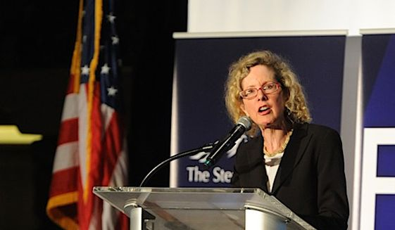 The Manhattan Institute's Heather MacDonald delivers the keynote address Aug. 28 at the 12th Annual Steamboat Institute Freedom Conference in Beaver Creek, Colorado. (Courtesy of the Steamboat Institute)