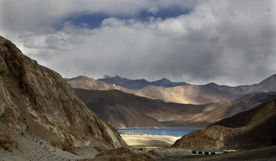"In this Sept. 14, 2017, file photo, Pangong Tso lake is seen near the India China border in India's Ladakh area. India said Monday its soldiers thwarted China's ""provocative"" military movements near a disputed border in Ladakh region amid a monthslong standoff. (AP Photo/Manish Swarup, File)"