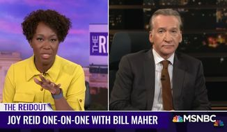 "Liberal late-night comedian Bill Maher said he's ""very nervous"" about Joe Biden's chances of beating President Trump in the November election during an appearance on MSNBC's ""The ReidOut"" with host Joy Reid on Friday, Aug. 28, 2020. (screen grab via MSNBC)"