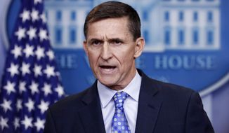 In this Feb. 1, 2017, file photo, then-National Security Adviser Michael Flynn speaks during the daily news briefing at the White House, in Washington. (AP Photo/Carolyn Kaster)