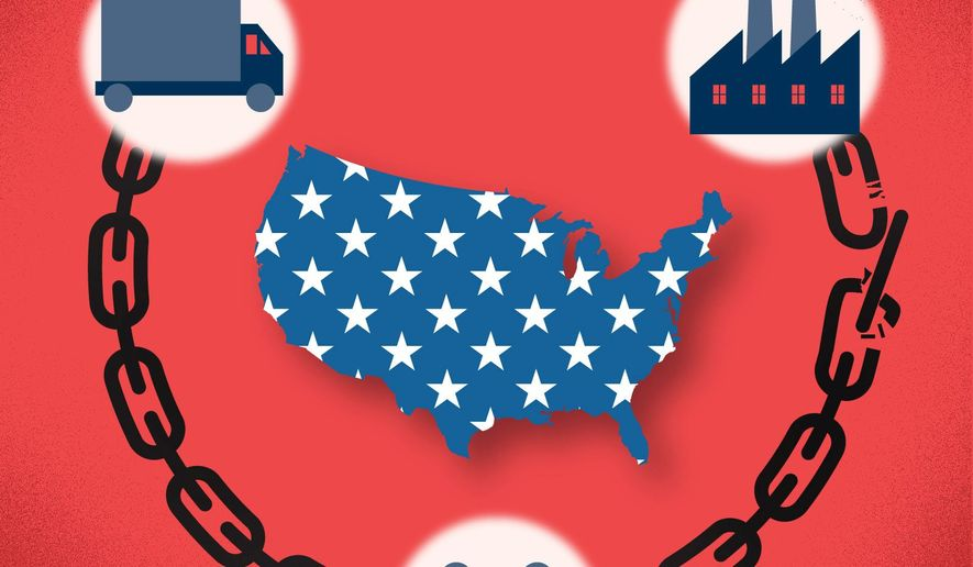 COVID-19 pandemic tough lesson on America's supply chain illustration by The Washington Times