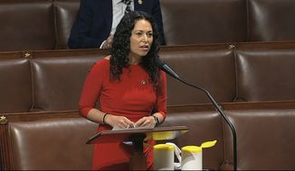In this image from video, Rep. Xochitl Torres Small, D-N.M., speaks on the floor of the House of Representatives at the U.S. Capitol in Washington, Thursday, April 23, 2020. (House Television via AP) ** FILE **