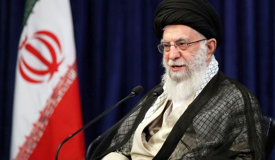 """In this picture released by the official website of the office of the Iranian supreme leader, Supreme Leader Ayatollah Ali Khamenei speaks during a video conference with education ministry officials, in Tehran, Iran, Tuesday, Sept. 1, 2020. Iran's supreme leader called the United Arab Emirates' recognition of Israel """"treason that will not last for long."""" (Office of the Iranian Supreme Leader via AP)"""