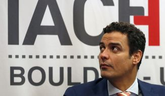 FILE - In this Oct. 5, 2018 file photo, Paulo Abrao, executive secretary of the Inter-American Commission on Human Rights, or IACHR, attends a hearing at the University Colorado in Boulder, Colo. (AP Photo/David Zalubowski, File)