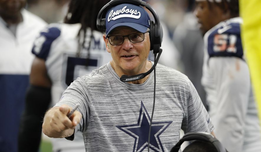 FILE - In this Sept. 22, 2019, file photo, Dallas Cowboys defensive coordinator Rod Marinelli talks to players on the sideline during the second half of an NFL football game against the Miami Dolphins in Arlington, Texas. Now with the Las Vegas Raiders, the 71-year-old war veteran known for his salty language on the practice field could be one of the team's most important offseason additions. (AP Photo/Roger Steinman, File)