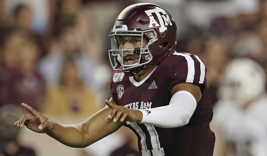 FILE - In this Aug. 29, 2019, file photo, Texas A&M's Kellen Mond (11) directs his team against Texas State during the second half of an NCAA college football game, in College Station, Texas. As Jimbo Fisher enters his third season at Texas A&M he has a luxury afforded to very few coaches: a four-year starter at quarterback in Kellen Mond.Mond is one of the most experienced quarterbacks in the nation this season after starting 36 games in his first three seasons with the Aggies.  (AP Photo/Chuck Burton, File)