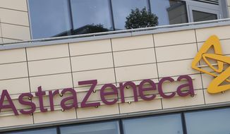 FILE - This July 18, 2020, file photo, shows the AstraZeneca offices in Cambridge, England. AstraZeneca announced Monday, Aug. 31, its vaccine candidate has entered the final testing stage in the U.S. The company said the study will involve up to 30,000 adults from various racial, ethnic and geographic groups. (AP Photo/Alastair Grant, File)